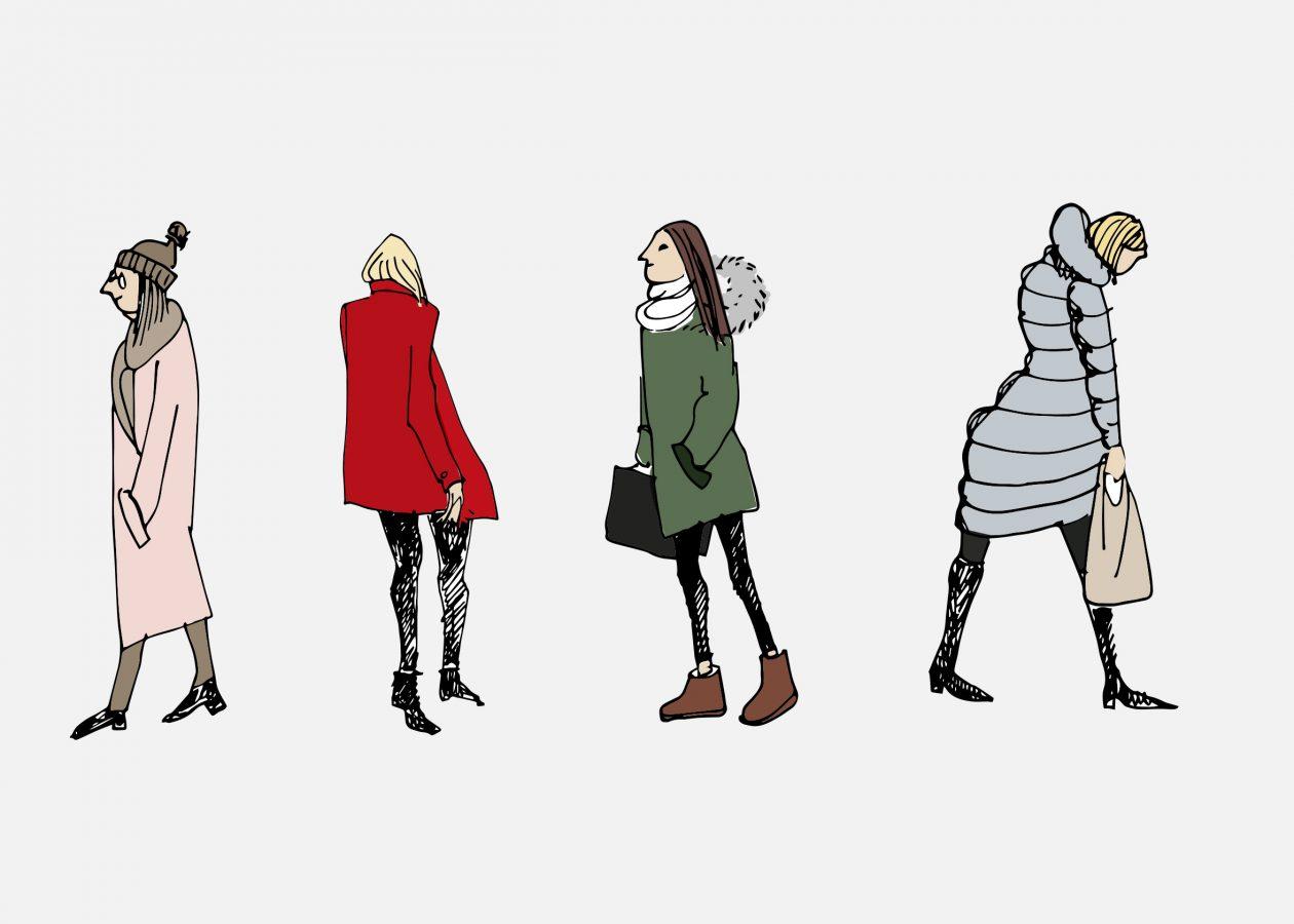 Larvik kommune damer i byen, illustrasjon Marianne Zaitzow/Affair